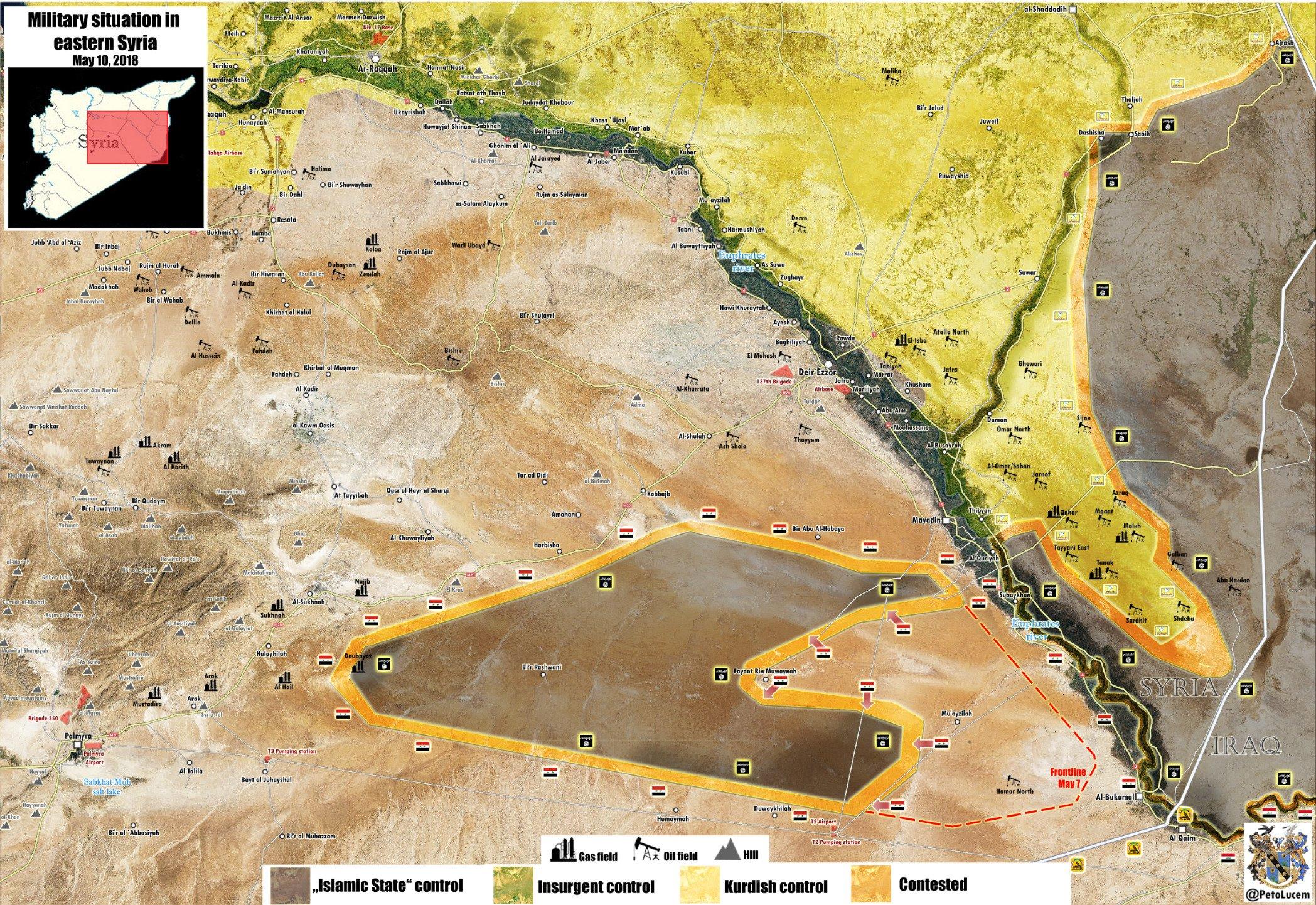 Mappa militare di Deir ez Zor aggiornata al 04/09/2017 (click per ingrandire) / Credits to: @PetoLucem