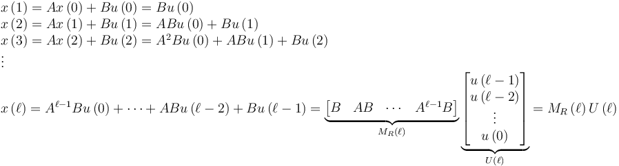 \begin{array}{l} x \left( 1 \right) = A x \left( 0 \right) + B u \left( 0 \right) = B u \left( 0 \right) \