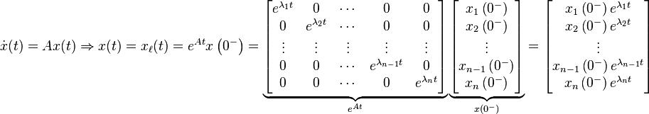 \dot x (t) = A x (t) \Rightarrow x (t) = x_\ell (t) = e^{At} x \left( 0^- \right) = \underbrace{\begin{bmatrix} e^{\lambda_1 t} & 0 & \cdots & 0 & 0 \\ 0 & e^{\lambda_2 t } & \cdots & 0 & 0 \\ \vdots & \vdots & \vdots & \vdots & \vdots \\ 0 & 0 & \cdots & e^{\lambda_{n-1} t} & 0 \\ 0 & 0 & \cdots & 0 & e^{\lambda_n t} \end{bmatrix}}_{e^{At}} \underbrace{\begin{bmatrix} x_1 \left( 0^- \right) \\ x_2 \left( 0^- \right) \\ \vdots \\ x_{n-1} \left( 0^- \right) \\ x_n \left( 0^- \right) \end{bmatrix}}_{x \left( 0^- \right)} = \begin{bmatrix} x_1 \left( 0^- \right) e^{\lambda_1 t} \\ x_2 \left( 0^- \right) e^{\lambda_2 t} \\ \vdots \\ x_{n-1} \left( 0^- \right) e^{\lambda_{n-1} t} \\ x_n \left( 0^- \right) e^{\lambda_n t} \end{bmatrix}