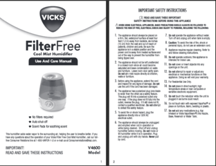 vicks filter free humidifier instructions