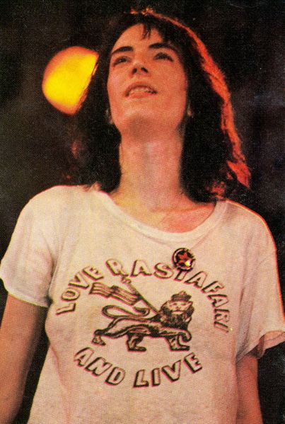 File:Patti Smith 1976 July 9 Central Park concert with Yippie cannabis flag pin.jpg