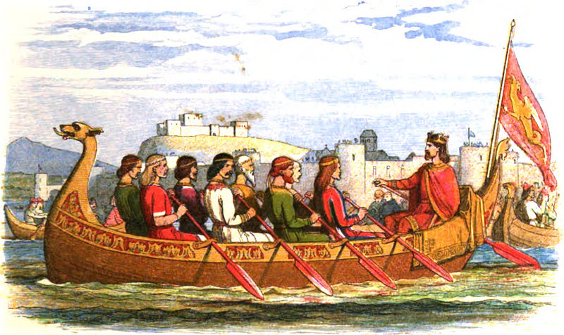 File:800px-A Chronicle of England - Page 069 - The Barge of Edgar Manned by Eight Kings on the Dee.jpg