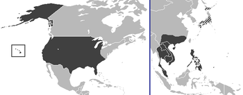 The Enclave at the height of power in America (left), and its subsequent conquests in the Pacific.