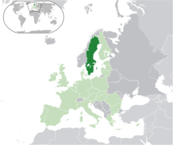 Location of Sweden (dark green)– on the European continent (light green & dark grey)– in the European Union (light green)
