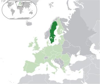 Location of Sweden (dark green)– on the European continent (light green & dark grey)– in the European Union (light green)