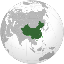 PRC-administered areas in dark green;PRC territorial claims in light green