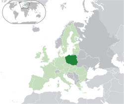 Location of Poland (dark green)– on the European continent (light green & dark grey)– in the European Union (light green)