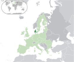 Location of Denmark (dark green)– on the European continent (green & dark grey)– in the European Union (green)