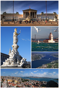 Clockwise from top: Palace of Clemens, Duis Harbor, Pont-du-Prince Carl, Cityscape of Duis, and the Pallas Athena statue