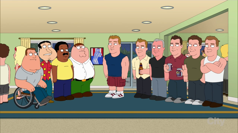 File:Joe, Quagmire, Cleveland and Peter meet Gronk's family.png