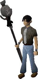 Pelaajalla on Death talisman staff päällä.