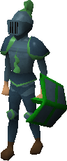 A player wearing full Guthix armour.