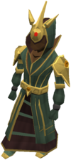 A forogtten mage wearing Celestial robes, a tier 11 set of armour.