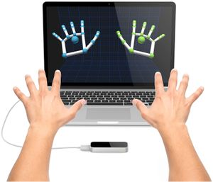 Leap motion controller tracking hand gestures