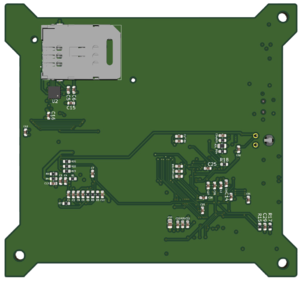 3D rendering of the carrier module PCB