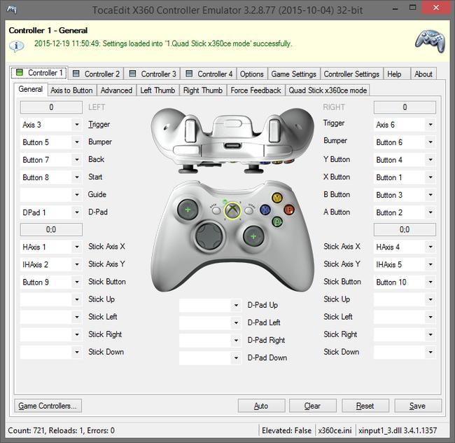X360ce - Quadstick: