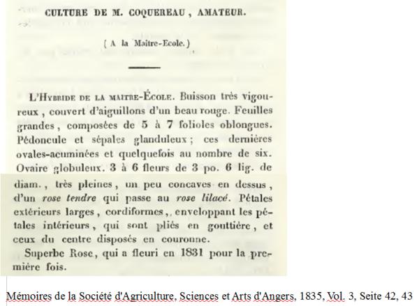 De La Maitre École, Mémoires de la Société d'Agriculture, Sciences et Arts d'Angers, 1835, Vol. 3, Seite 42, 43.PNG