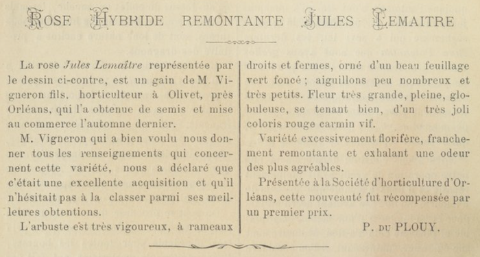 Monsieur Jules Lemaître, Journal des Roses, Text 01.1891.PNG