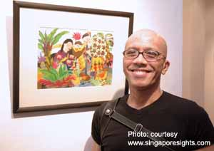 "Artist Martin Loh, posing next to one of his paintings from the ""Cerita budak-budak exhibition."