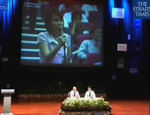 Minister Mentor Lee Kuan Yew listening to questions from the floor during a forum at NTU.