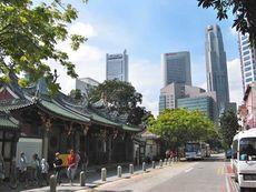 Telok Ayer Street with the tourist landmark Thian Hock Keng Temple on the left, just opposite Oso.