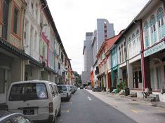 Rows of shophouses along Tras Street, where Why Not? is located.