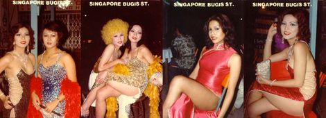 1970s Bugis Street souvenir postcards featuring well-dressed transwomen.