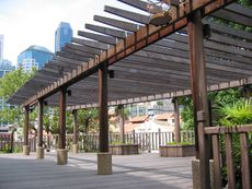 Timber-constructed patio at the summit. The wooden swing where gays used to sit was removed in mid-2005 probably for safety reasons.