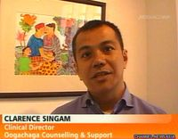 Clarence Singam during an interview on Channel News Asia