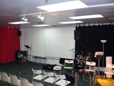 The FCC stage from which sermons and talks were given.