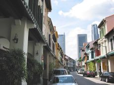 Rows of shophouses along Amoy Street in which Caprice is located.