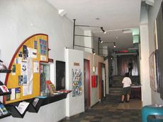The corridor-like lobby of The Substation.