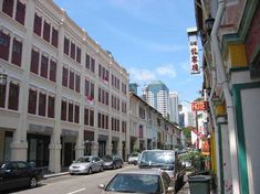 The rows of shophouses along Mosque Street where Cow & Coolies is located.