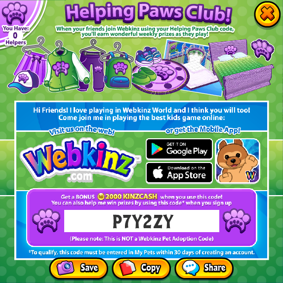 Helping Paws Club Webkinz Pictures