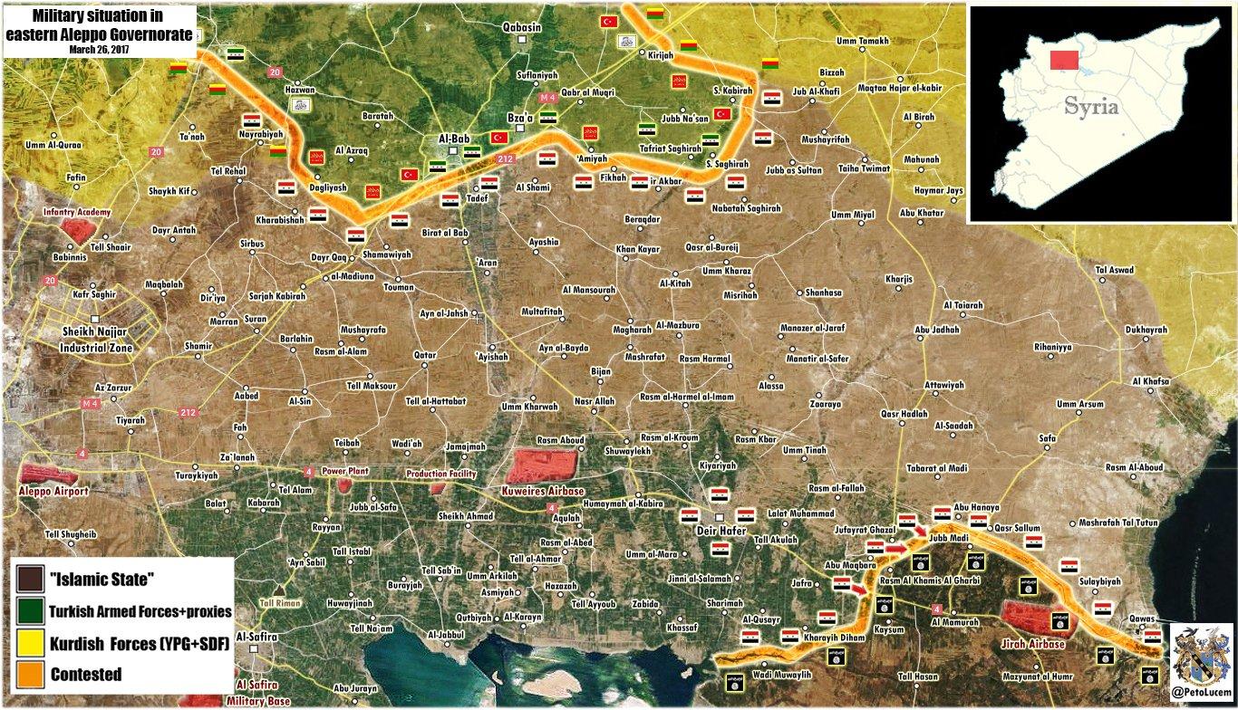 Mappa militare di al Bab e dell'est della provincia di Aleppo aggiornata al 25/02/2017. Credits to: PetoLucem.