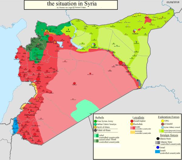 Mappa militare della Siria ggiornata al 6/02/2018. Credits to: Thomas van Linge.