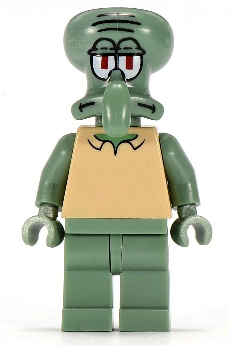 Minifig LEGO Spongebob Head Modified Squidward Sand Green